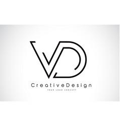 vd v d letter logo design in black colors vector image
