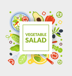 Vegetarian salad banner template with fresh vector