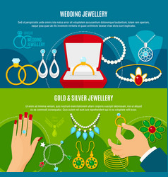 Wedding jewelry horizontal banners vector