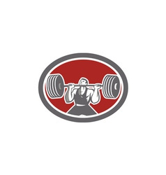 Weightlifter Lifting Barbell Front Oval Retro vector