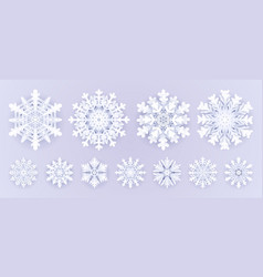 white paper snowflakes isolated on grey background vector image