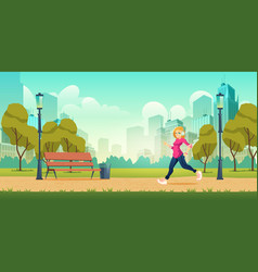 Woman jogging in city park cartoon vector