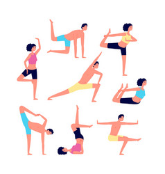 Yoga exercises adult exercising fitness people vector