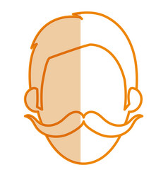 Young man with mustache head avatar vector
