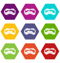 Zombie mouth icon set color hexahedron vector