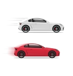 Cars racing fast flat auto moving on high vector