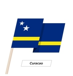 Curacao Ribbon Waving Flag Isolated on White vector image vector image