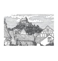 engraved of old village vector image