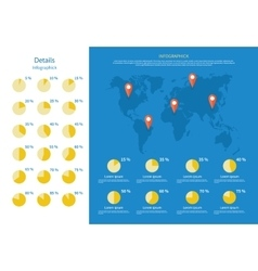 Global infographics map and pie chart vector