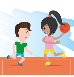 Happy couple athlete playing basketball vector