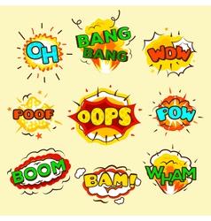 Comic Explosion Bubbles Set vector image