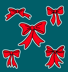 doodle red gift bows for christmas or birthday vector image vector image