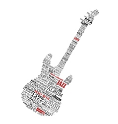 Electric guitar shape composed of music text vector image