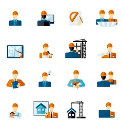 Engineer Icons Flat vector image vector image