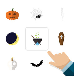 flat icon halloween set of casket crescent magic vector image vector image
