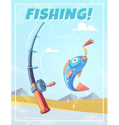Grunge background with fishing rod and fish vector image vector image