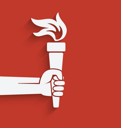 hand with torch symbol vector image vector image
