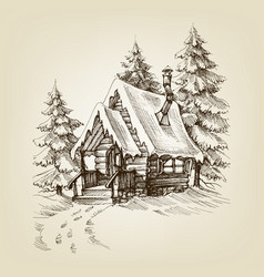 winter cabin exterior pine trees forest and snow vector image vector image