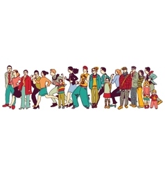 Big group people standing queue tail waiting line vector image