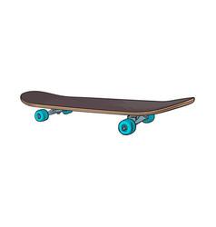 black 90s style skateboard sketch vector image vector image