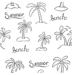 doodle of palm beach hand draw vector image