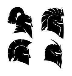 Four knights helmets vector