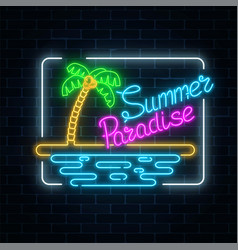 Glowing neon summer paradise sign with palm beach vector