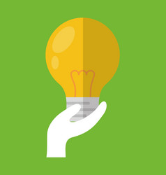 hand holding bulb light vector image vector image