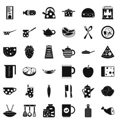 kitchen icons set simple style vector image vector image