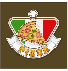 pizza sticker vector image vector image