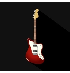 red vintage electric guitar on a black background vector image vector image