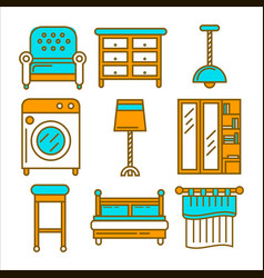 colorful cartoon furniture isolated flat vector image vector image