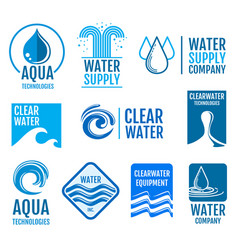 fresh water logos and labels set with aqua vector image vector image