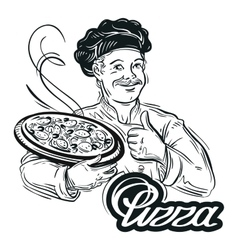 hand-drawn chef with pizza in his hand on a white vector image vector image