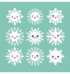 Kawaii snowflake set white funny face with eyes vector image vector image