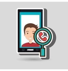 man cartoon smartphone telephone search vector image