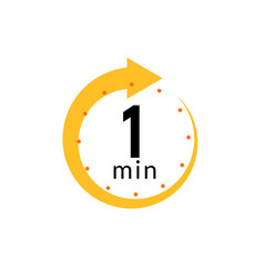 1 minutes clock quick number icon 1min time vector