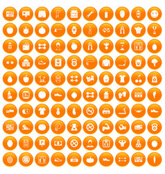 100 gym icons set orange vector