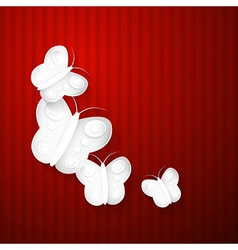 Abstract Paper Butterflies on Red Background vector