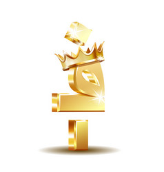 Afghan afghani currency symbol with golden crown vector