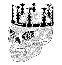antistress coloring page with halloween evil skull vector image