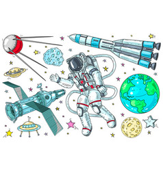 astronaut in a spacesuit and rockets hand drawn vector image
