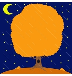 Autumn tree under the rain in the night star sky vector
