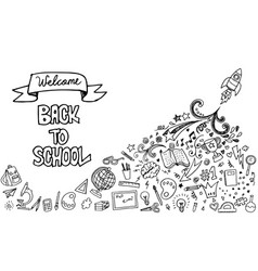 Back to school banner with hand drawn line art vector