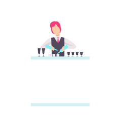 Bartender standing at the bar counter mixing vector