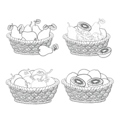 Baskets with fruits and vegetables outline vector