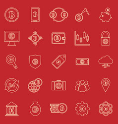 Bitcoin line color icons on red background vector