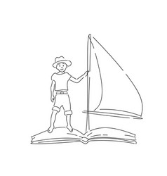 boy in hat floating on book with sail vector image