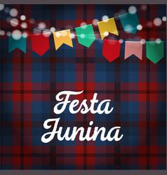 Brazilian festa junina greeting card invitation vector