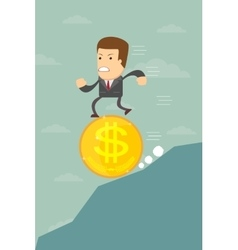 Business man falling on a dollar coin vector
